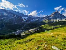 Area di Cervinia - montagna di punta del Cervino, Italia Fotografie Stock