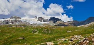Area di Cervinia - montagna di punta del Cervino, Italia Fotografia Stock