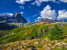 Area di Cervinia - montagna di punta del Cervino, Italia Fotografia Stock Libera da Diritti