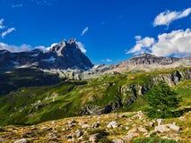 Area di Cervinia - montagna di punta del Cervino, Italia Immagini Stock Libere da Diritti