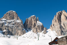 Area di corsa con gli sci nelle alpi delle dolomia Immagine Stock Libera da Diritti