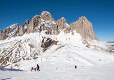 Area di corsa con gli sci nelle alpi delle dolomia Fotografie Stock
