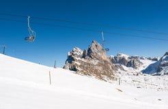 Area di corsa con gli sci nelle alpi delle dolomia Fotografia Stock