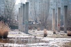 Area di costruzione abbandonata Fotografia Stock Libera da Diritti