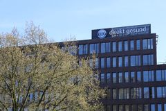Area di Dortmund, Ruhr, Renania settentrionale-Vestfalia, Germania - 16 aprile 2018: Gesund diretto del ` di Bundesinnungskranken fotografie stock libere da diritti