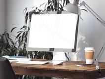 Area di lavoro con lo schermo di monitor in bianco rappresentazione 3d Fotografia Stock Libera da Diritti