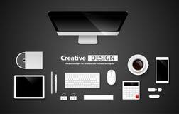 Area di lavoro creativa di progettazione Vettore Immagini Stock Libere da Diritti