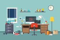 Area di lavoro del progettista nella stanza di lavoro Fotografia Stock Libera da Diritti
