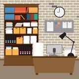 Area di lavoro della stanza dell'ufficio di vettore Fotografia Stock Libera da Diritti