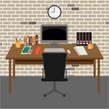 Area di lavoro della stanza dell'ufficio di vettore Immagine Stock