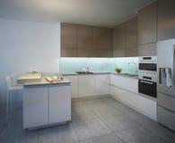 Area di lavoro dello stile contemporaneo della cucina Fotografia Stock