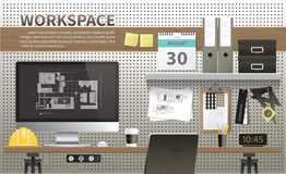 Area di lavoro di interior design e di architettura Royalty Illustrazione gratis