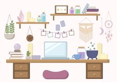 Area di lavoro moderna della strega nell'illustrazione piana di colori pastelli royalty illustrazione gratis