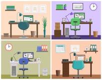 Area di lavoro o posto di lavoro interna piana a casa Fondo di vettore Fotografia Stock Libera da Diritti