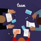 Area di lavoro Team Design Flat Concept Immagini Stock