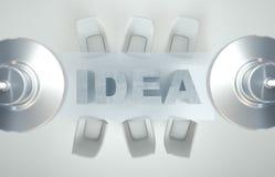 Area di lavoro vuota sulla tavola bianca di IDEA Vista superiore L'alta risoluzione rende Concetto di affari Fotografia Stock Libera da Diritti