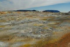 Area di Namaskard, vicino al lago Myvatn, l'Islanda Immagini Stock