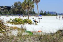 Area di pallavolo sulla spiaggia di siesta Immagini Stock Libere da Diritti