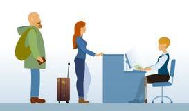 Area di partenza dell'aeroporto con la ricezione dei passeggeri Immagini Stock