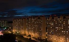 Area di Residental alla notte Fotografie Stock