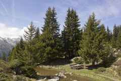 Area di riposo Alp Flix Fotografia Stock
