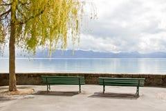 Area di riposo nel lago Ginevra, Losanna, Svizzera 2 Immagini Stock
