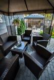 Area di seduta sul terrazzo Fotografia Stock