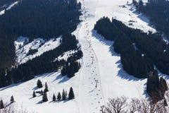 Area Dienten Hochkonig, alpi dello sci dell'Austria nell'inverno Immagini Stock Libere da Diritti