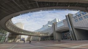 Area beside the entrance to European Parliament stock video footage