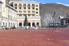 The area in front of the town hall, Rosa Khutor. Royalty Free Stock Photo