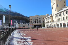 The area in front of the town hall, Rosa Khutor. Stock Images