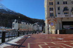The area in front of the town hall, Rosa Khutor. Royalty Free Stock Image