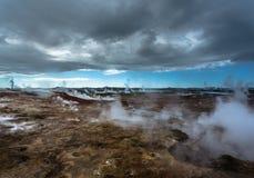 Area geotermica di Gunnuhver Fotografie Stock Libere da Diritti