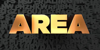 Area - Gold text on black background - 3D rendered royalty free stock picture Royalty Free Stock Photography