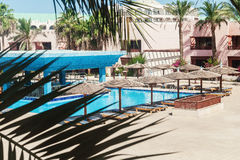 Area hotel with pool and palm trees in Hurghada. Egypt. The Gol. Den 5 October 5, 2016 stock photos