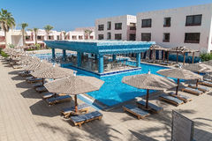 Area hotel with pool and palm trees in Hurghada. Egypt. The Gol. Den 5 October 5, 2016 stock photography