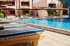 Area hotel with pool and palm trees in Hurghada. Egypt. The Gol. Den 5 October 5, 2016 royalty free stock photography
