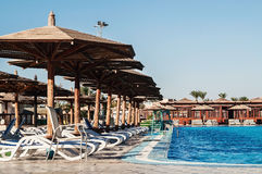 Area hotel with pool and palm trees in Hurghada. Egypt. The Gol. Den 5 October 5, 2016 royalty free stock photos