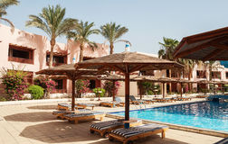 Area hotel with pool and palm trees in Hurghada. Egypt. The Gol. Den 5 October 5, 2016 royalty free stock images