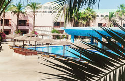 Area hotel with pool and palm trees in Hurghada. Egypt. `The Golden 5` October 5, 2016 stock photography