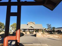 Grand Canyon Village shuttle stop and market stock photo