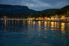 Garda country by night, Lake Garda, Italy. royalty free stock images