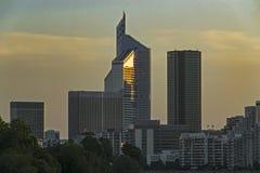 Skyscraper La Défense. The area of La Défense is a modern, business center of Paris. La Défense is the center of modern architecture Royalty Free Stock Images
