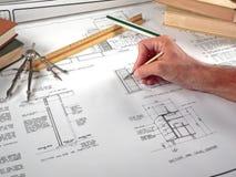 Area lavoro, strumenti e cianografie dell'architetto Fotografia Stock