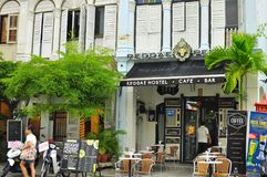 Heritage shops, hostel, cafe and bar in Penang Malaysia. This area is located within the UNESCO heritage site of Penang, Malaysia. The picture shows an old house Royalty Free Stock Photo