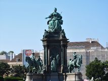 The area of the Maria-Theresien-Platz, Vienna, Austria, on a clear day stock images