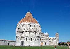 The area of miracles in Pisa. Pisa tower and church Royalty Free Stock Photography