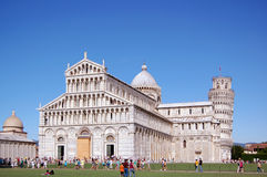 The area of miracles in Pisa. Pisa tower and church Stock Images
