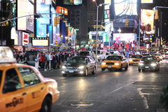 Area near Times Square at night Stock Images