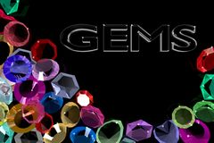 The area of precious stones with the inscription gems. Stock Photography